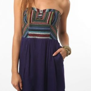 Staring at Stars Embroidered Strapless Dress